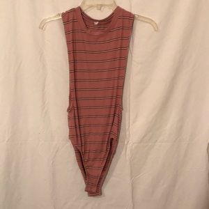 Pink rubbed body suit with stripes